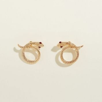 Gold Twisted Snake Stud Earrings | New Look