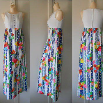 Hippie Maxi Dress Long Hippie Dress Maxi Sundress 60s Maxi Dress 60s Hippie Dress Long Floral Dress Long Sundress Bright Colours Neon Dress