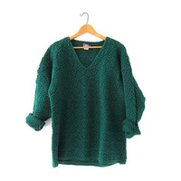 Vintage Oversized Sweater. Loose Knit Sweater. VNeck Sweater. Crochet Pullover. Dark Green Sweater.