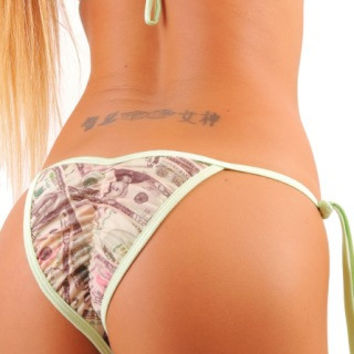 Tie Side Money Print Scrunch Bottom