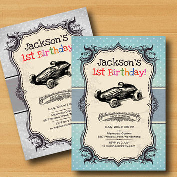 retro race car birthday invitation baby boy baby girl invitation Retro Rustic invitation kids birthday 2colors to choose from - card 336