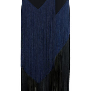 Stella McCartney - Veronica fringed stretch-crepe midi skirt
