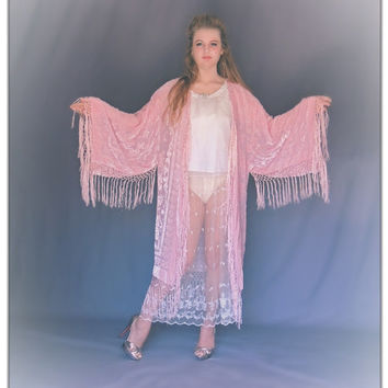 Final instalment Miss R /Fringe kimono in nude pink silk / large luxury burnout velvet duster / Stevie Nicks long jacket