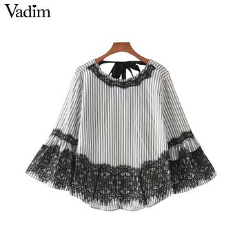 Women sweet lace patchwork striped shirts back bow tie flare sleeve o neck blouse fashion casual tops