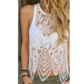 Summer White Women Lace Crochet Top