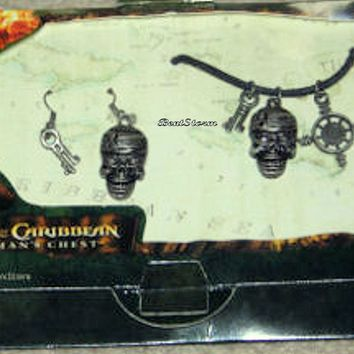 Licensed cool Disney Pirates of the Caribbean Dead Man's Chest Necklace & Skull Earrings Set