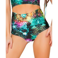 Green Tribal Galaxy High-Waist Booty Shorts
