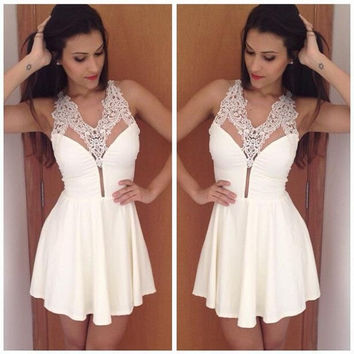 New Summer Hollow Out Lace Pleated Dress Women Sleeveless Women's Fashion Sexy V-Neck Mini Dress Vestidos = 1946950596