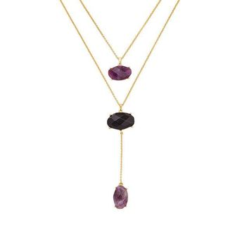 Long Sweater Natural Stone Pendant Necklace