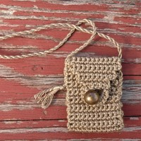Taupe Hope - a small, handmade, cotton Spirit Pouch