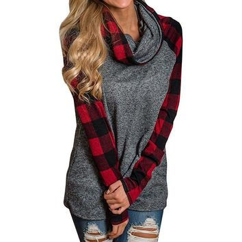 Womens Cowl Neck Patchwork Long Sleeve Sweater
