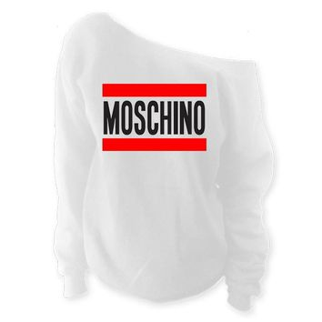 Moschino Off-The-Shoulder Wide Neck Slouchy Oversized Sweatshirt