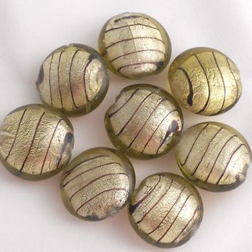 Four 24mm gold-tone foil round pillow glass beads with brown stripes, Focal beads, C4201