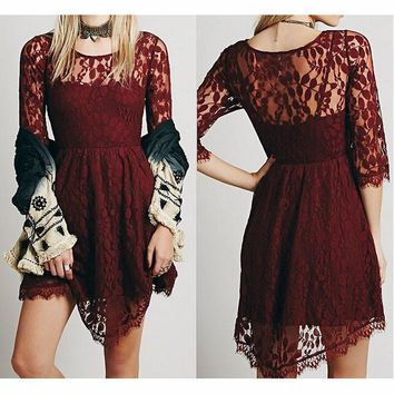 FASHION LACE EMBROIDERY BODYCON DRESS