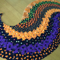 Halloween spiral table runner, quilted table runner, curved table runner, table topper, unique table runner, modern, contemporary, colorful