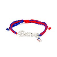 Stars and Stripes Crystal Brave Macramé Bracelet | Claire's