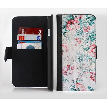 The Coral & Blue Grunge Watercolor Floral Ink-Fuzed Leather Folding Wallet Credit-Card Case for the Apple iPhone 6/6s, 6/6s Plus, 5/5s and 5c