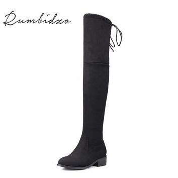 Rumbidzo 2017 Fashion Women Boots Winter Autumn Over Knee High Boots Lace Up Flat Heel Bootie Woman Shoes Botas Feminios