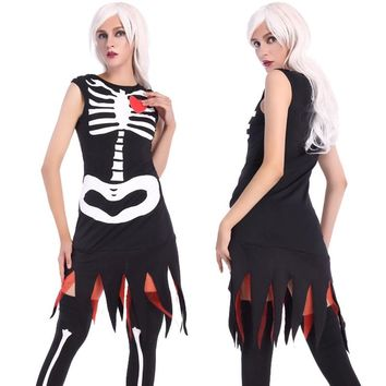 2018New Witch Gothic Horror Costumes Long Dress Dresses Skeleton Bones Costume Masquerade Party Witch Black