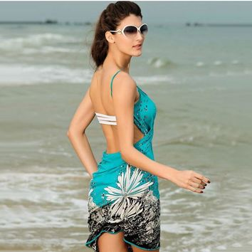 Beach Women Sexy Dresses Cover-up New Sleeveless Halter Multicolor Flower Print Strappy Swing Chiffon Ladies Cami Dress