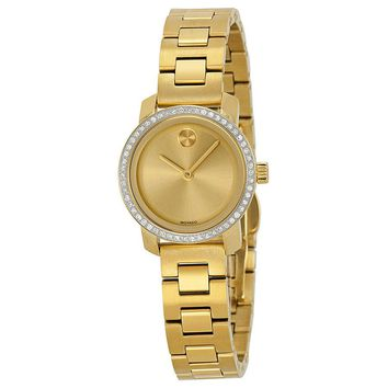 Movado Bold Champagne Dial Gold Tone Stainless Steel Ladies Watch 3600215