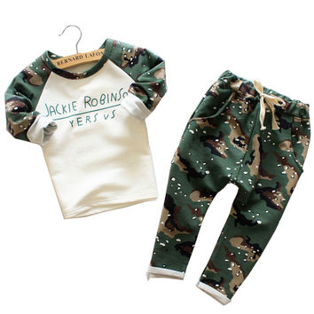 Free shipping winter kids clothing suits Camouflage kids Sweatshirts+pants children sports suit boys clothes set kids clothes