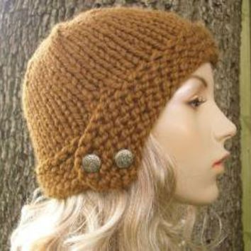 Hand Knit Hat  Chunky Cloche Hat in Hazelnut
