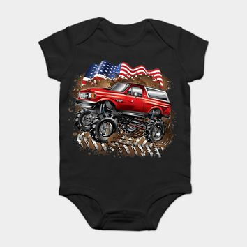 Baby Onesuit Baby Bodysuits kid t shirt Funny novelty Mud Truck Ford Bronco 's s cool