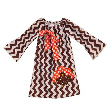 Thanksgiving Fall Girls Embroidery Chevron and Striped Dress