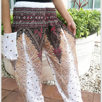 White Gypsy Peacock Print Yoga Pants Hippie Baggy Boho Tribal Hipster Plus Size Aladdin Clothing Baggy Unisex Harem Wide Legs Fisherman Zen