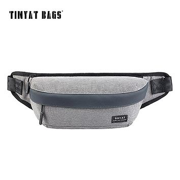 Men Male Casual Canvas Chest Bag Pack Messenger Bag Gray Waist Pack Bag Pouch Coin Phone Belt Bag