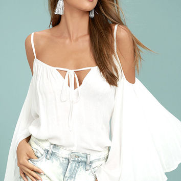 Thought-Provoking White Off-the-Shoulder Top