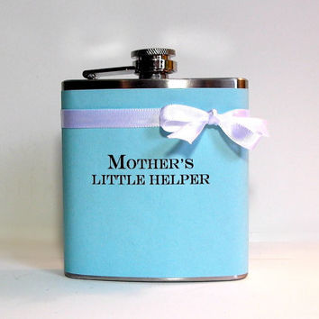 mothers little helper funny flask tiffany blue mother of the bride bridal