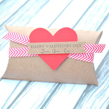 Personalized Valentine's Day Pillow Box With Chevron Ribbon And Heart Tag, Valentine Treat, Personalized Gift, Personalized Valentine