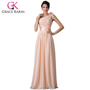 Grace Karin Bridesmaid Dress Beautiful One Shoulder Chiffon Apricot Floor Length Prom Gown Dance Long Bridesmaid Dresses 2016