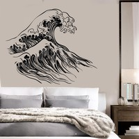 Vinyl Wall Decal Ocean Wave Sea Marine Bathroom Decor Stickers Unique Gift (105ig)