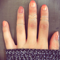 Light Silver Wire Adjustable Above Knuckle Chevron Ring Set