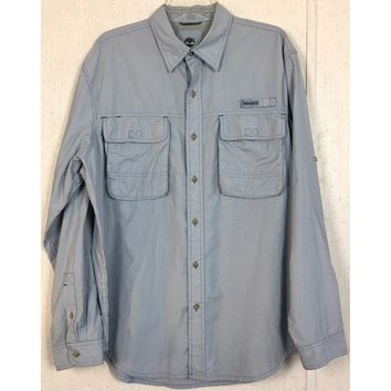 Timberland Turbo Quick Dry Vented Shirt Blue Check Fishing Outdoor Convert L 33