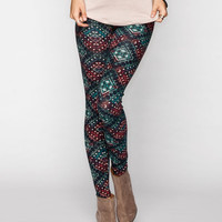 Full Tilt Medallion Print Leggings Multi  In Sizes
