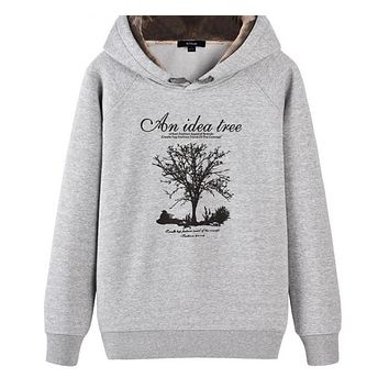 New men casual hoodies sweatshirt wishing Tree Print trend comfortable pullover thick plus fleece warm clothes