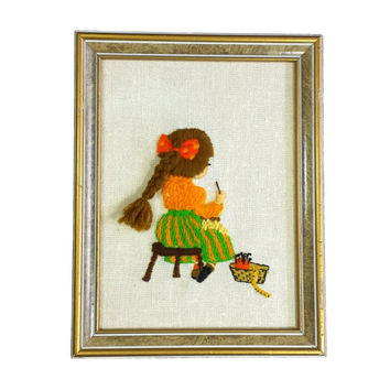 Girl Sewing Crewel 3D Framed Embroidery Needlepoint Picture Vintage Kids Room Rerto Nursery Wall Yarn Art