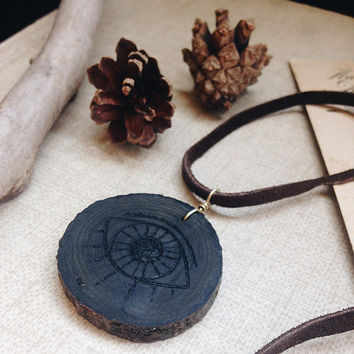 secret eye | evil eye necklace - eye choker - wooden eye pendant - woodland witch jewelry - pyrography - choker suede cord