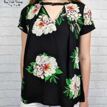 Floral Crepe Top - Black - Small or Medium only