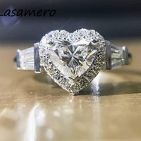 LASAMERO Ring For Women 1.2CTW Ring Heart Natural Diamond Ring Accents 18k Gold Real Diamond Engagement Wedding Ring