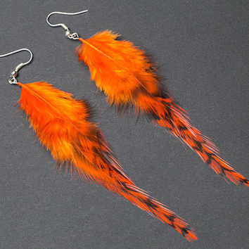 Fall feather earrings: natural real feathers, barred orange, fall colors, bohemian boho hippie tribal indian gypsy,very light
