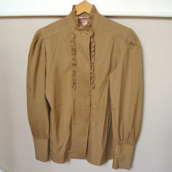 Vintage 80s Blouse / Secretary Blouse / Camel Brown Shirt / Ruffled Blouse / Tuxedo