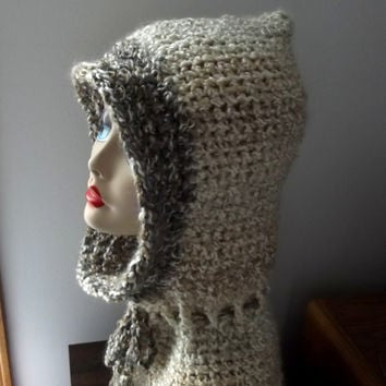 Crochet Cream Hood, Scoodie, Ladies Teens, Ski Outdoor Activities, Cap, Winter, Natural Colors, Easy Care Acrylic