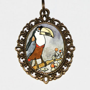 Toucan Necklace, Tropical Bird, Animal Jewelry, Oval Pendant