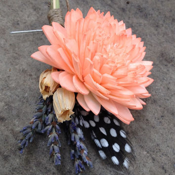 Handmade Wedding Boutonniere Corsage- Coral Sola Zinnia Flower, Guinea Hen Feather, Lavender Corsage, Florentine Pods, Hemp Rope, Rustic