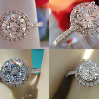 1.16CT Round Brilliant Diamond Halo Pave Engagment Ring Certified and Appraised